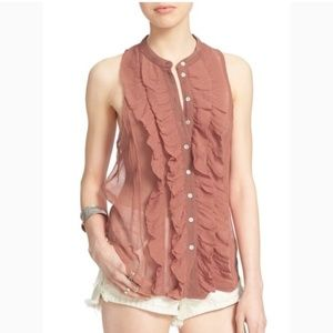 "Free People Sheer Ruffle ""Higher Ground Tank"""